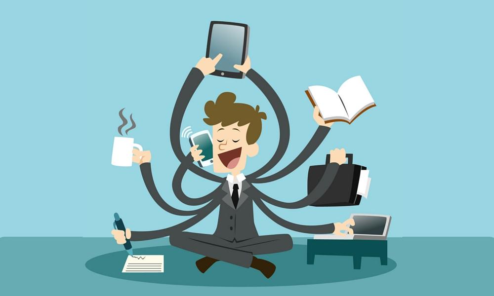 crazy busy person